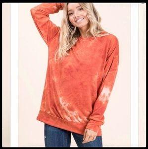 Tie Dye Pullover, Orange/White, New